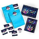 12 Einladungskarten zum Kindergeburtstag Bowling für Mädchen und Jungen / Erwachsene incl. 12 Umschläge, 12 Tüten / blau, 12 Aufkleber / Bunte Einladungen zum Geburtstag / Geburtstagseinladungen