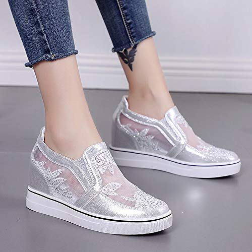 51Y%2BwByUU1L. SS500  - ZHZNVX Women's Shoes PU(Polyurethane) Summer Comfort Sneakers Wedge Heel Round Toe White/Silver