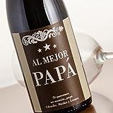 Regalo para el Día del Padre, Navidad o su cumpleaños: botella de vino 'al mejor papá' personalizada con dedicatoria
