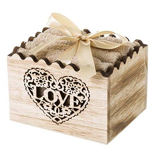 Bakaji confezione set 4 asciugamani 30x30 cm scatola regalo in legno decorazione shabby (beige)