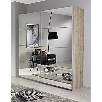 Schwebetürenschrank weiß grau B 218 Schlafzimmer Schiebetüren Spiegelschrank