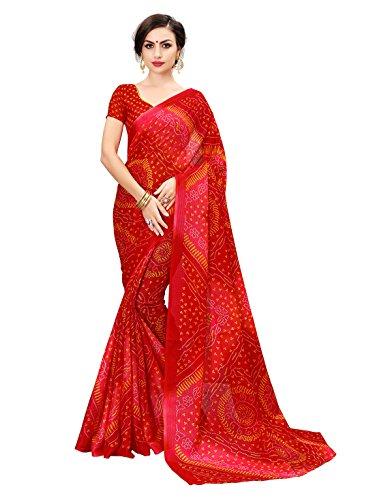 Glory Sarees Women's moonga cotton saree(bandhanisaree2red_red)