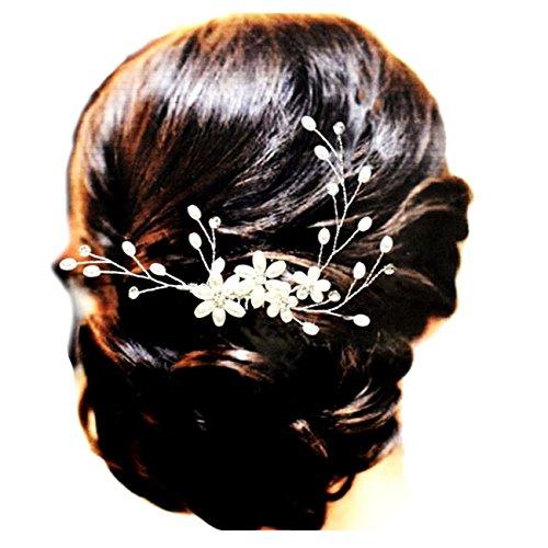 Best-Seller N°1 Handarbeit Brautschmuck Haarschmuck Haarkamm Flexibel Blumen Perlen Ivory Elfenbein Kristall klar