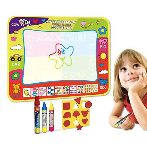 Wholethings Doodle Tapis(80*60CM) 3 stylos,Tapis De Dessin des Gamins Eau Tableau Doodle Scribble Boards Pad