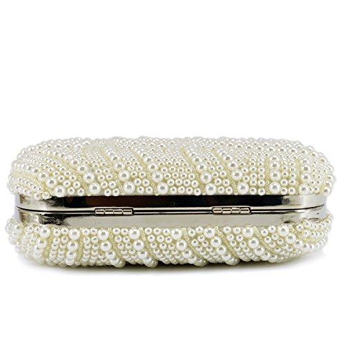 Heyjewels Elegant Handgemacht Zweiseitig Perlen Beaded Clutch Brauttasche Unterarmtasche Party Abendtasche Serie 1:Weiss