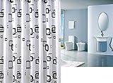 HJL Schwarz Weiß karierte Muster-wasserdichten Duschvorhang Dekor 180 * 220 cm