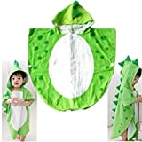 Kinder Badetuch Robe Kinder mit Kapuze Strand schwimmen Poncho Dinosaurier Muster (Green, S)