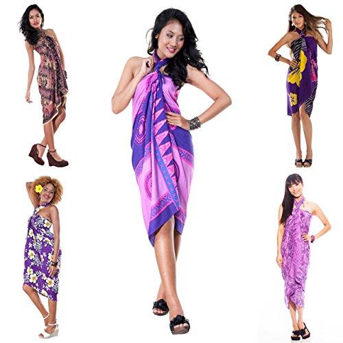 TowelsRus Spa Days Sarong, 1 World Damen Handtasche Pot Luck der Badeanzug Cover-Up Sarong Sarong 1 Violett