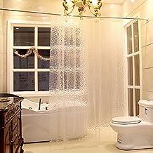 DU&HL 3D efecto baño cortina agua 3D cubo molde y moho ducha libre cortina de ducha de línea 100% EVA con ganchos de plástico (verde) , A