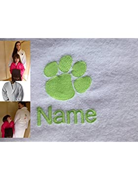 Accappatoio per adulti con un Paw Print Logo e nome a scelta in Bianco, Taglia M, L, XL o XXL, White, large