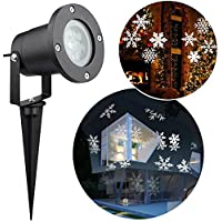 Christmas LED Landscape Projector,Snowflake Lamp Waterproof Xmas Spotlight White Light Moving Lighting Outdoor Indoor for Garden Holiday House Home Wall Party Weddings Decoration