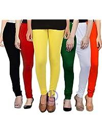 72b479f0d370d2 Klugger® Womens Cotton Lycra 160 GSM Leggings | 4 Way Stretchable |  Multicolour Leggings for