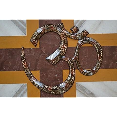 Colgante de pared clásico Om - gran símbolo Om para pared-rwyp budismo sánscritos yogastudio colgar en la pared - arte de la pared decoración Metal espiritual de la