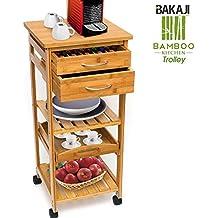 dbeba1dc024da BAKAJI Carrello Cucina in Legno di bambù con Ripiano Top Solido Tagliere  utile per appoggio Macchina