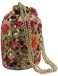 Filora Women s Ethnic Rajasthani Silk Potli Bag Potli Purse Bridal  Clutch Bridal Purse c64f48869f5c3