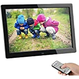SSA Digital Photo Frame 8 Inches 1280 x 800 High Resolution Full IPS Photo/Music/Video Player Calendar Alarm Auto On/Off Timer Ultra Slim Design with Remote Control
