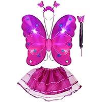 Thee 4LED vif aile de papillon fille Princesse Costume ailes avec baguette magique pour Party Carnaval fastnacht Costume enfant Halloween