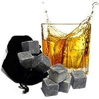 Las Mejores Whisky Stones - Original Regalo Para Hombres - 9 Piedras del Whisky de Esteatita Con Elegante Bolsa Para Guardarlas - No Diluyen el Whisky & No ...