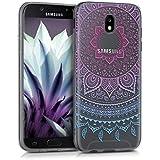 kwmobile Hülle für Samsung Galaxy J5 (2017) DUOS - TPU Silikon Backcover Case Handy Schutzhülle - Cover klar Indische Sonne Design Blau Pink Transparent