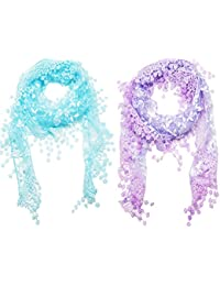 Meta-U Women's Triangle Scarf – Floral Print On Sheer With Lace Tassels – Small Shawl & Waist Belt – A MUST Fashion Accessory