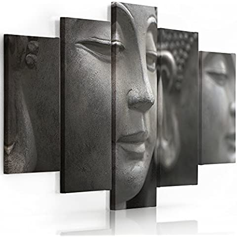 Feeby Frames, Cuadro en lienzo - 5 partes - Cuadro impresión, Cuadro decoración, Canvas (BUDA GRIS) 70x100 cm, Tipo A