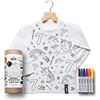 Colour In Birthday Top - Unicorn (Size 6-8 Personalised Age 6)