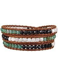 KELITCH Schwarz Streifen Achat, Shell-Perlen und Grün Achat Perlen Armband Braun Leder Armbänder