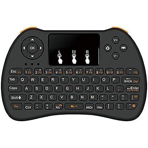 Mini Wireless Gioco Maniglia tastiera e mouse touchpad con retroilluminazione per Laptop/Notebook/PC, PS3, Xbox 360/One, Google Android TV Box, HTPC, Smart TV Samsung, colore: lampone pi-black