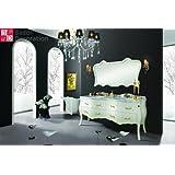 Double vasque Vasque design baroque vanité marbre blanc 180x85x57 NOUVEAU