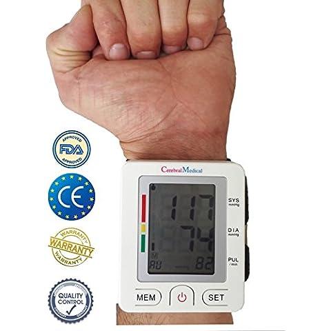 Tensiómetros de muñeca eléctricos – Probado y endosado por médicos; Lecturas precisas de presión arterial, monitorea pulso normal e irregular / Ritmo cardíaco, con función de memoria. Monitorea presión arterial alta y baja. Talla única, fácil y preciso para usar en casa ó durante