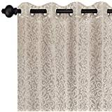 Urban Hues Eyelet Beige 1 Piece Polyester Jacquard Fabric Window, Door Curtains-7ft