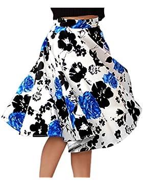 YAANCUNN Midi Falda Swing Falda Estampada Plisada A-Line Vintage Falda Mujer