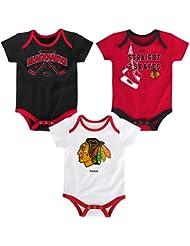 "Chicago Blackhawks NHL Reebok ""Hat Trick"" Infant 3 Pack Bodysuit Creeper Set"