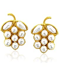 Surat Diamonds Real Freshwater Pearl & Gold Plated Grapes Shaped Earring for Women (SE42)