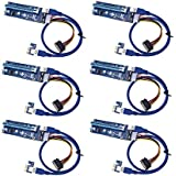 t-module PCI-E Express 1X To 16X funciona con elevador Cables 0.6m usb3.0sata a Molex 4pines Kit Pack de 6, GPU adaptador Cable extensor de tarjeta edificio ethereum minería Rig Eth minero USB Cable de extensión