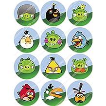 12 x Cakeshop decoración para pasteles comestibles PRECORTADAS de Figuras de Angry Birds