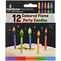 12 Coloured - Flame Party Candles