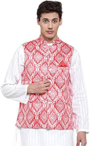 NEUDIS by Dhrohar Printed Satin Nehru Jacket/Waistcoat For Men - Red