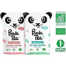 Panda Tea - thé et infusion detox cure minceur bio - 56 sachets coton - challenge 28 jours - certifié biologique