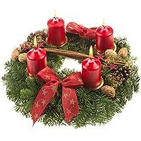 Dominik Blumen und Pflanzen, Adventskranz Weihnachtsglanz, 30 cm im Durchmesser,mit roten Kerzen