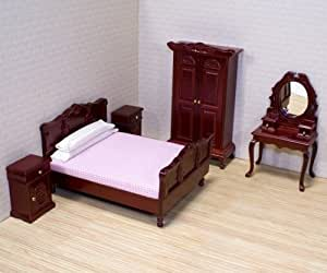 Melissa & Doug Classic Victorian Wooden and Upholstered Doll's House Bedroom Furniture (5 pcs)