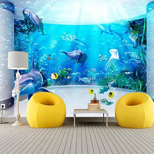 BIZIX Personalizzato Grande Muro Pittura 3D Spazio esteso Acquario Delfino Oceano Sott'Acqua Mondo Soggiorno TV Sfondo Carta da Parati Murales