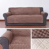 HDM Rutschfest 3-Sitzer 171x169 cm Sofaüberwurf in kaffeebraun, Rückseite mit Silikagel in Fuß-Muster, Sesselschoner geeignet für alle normalen Sofa und Ledersofa, Sofaschoner aus 100g Vakuum - Baumwolle