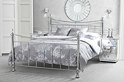 4ft6 Double Nickel Iron / Metal bed Chrome Plated with Crystal finials - Waterford from My-Furniture