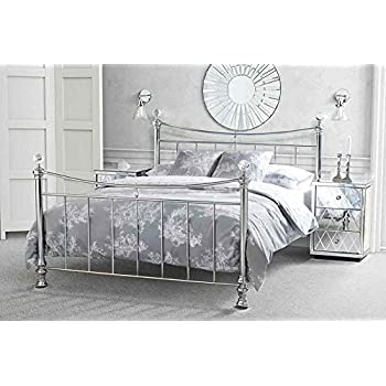 Chrome Double Bed Frame With Crystal Finials