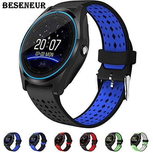 Beseneur Bluetooth Smart Watch V9 con cámara smartwatch podómetro salud deporte horas reloj hombres mujeres smartwatch para Android ios (Black Blue)