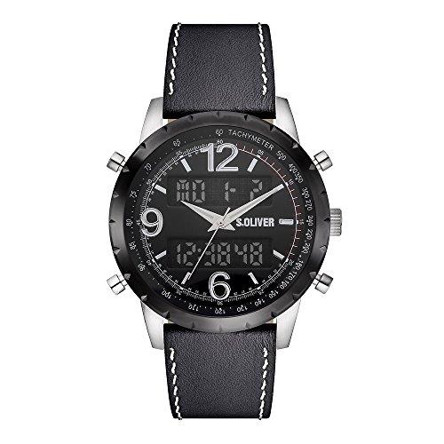 s. Oliver Hombre Reloj de pulsera analógico digital cuarzo piel So de 15147de LDR