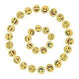 NBEADS 1000pcs bola de arcilla polimérica Emoji Emoticon cuentas hecho a mano Crafts para Kids 'juguete regalos, amarillo, 9~ 10x 4~ 5mm, agujero: 1,5mm