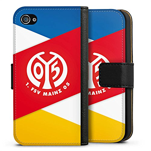 Apple iPhone SE Silikon Hülle Case Schutzhülle 1. FSV Mainz 05 e.V. Bundesliga Fanartikel Sideflip Tasche schwarz