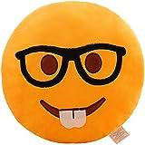 Glield Emoticono Cojín Redondo con Forma, Suave y Cómodo BZ01 (Gafas)